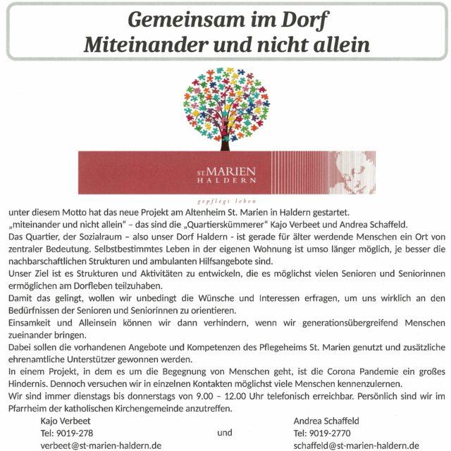 Gemeinsam im Dorf (evang. Gemeindebrief Rees u. Haldern, 09-11 2020)