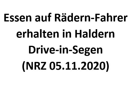 Essen auf Rädern-Fahrer erhalten in Haldern Drive-in-Segen (NRZ 05.11.2020)